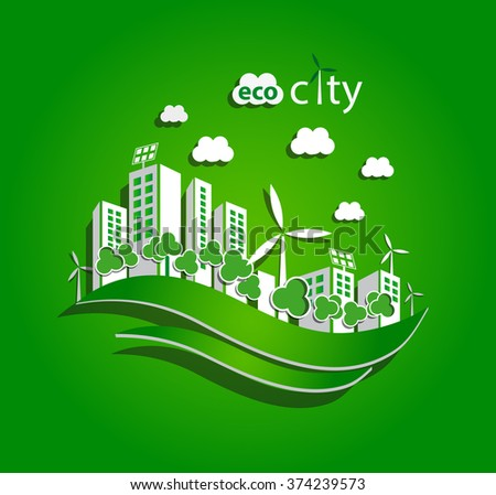 green eco city with private houses, panel houses, wind turbines and solar panels, flat style concept for renewable energy and eco technologies