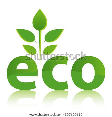 Green ECO concept with leaf design. - stock vector
