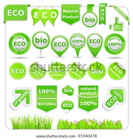 Green Eco Design Elements, vector eps10 illustration (transparent shadows) - stock vector