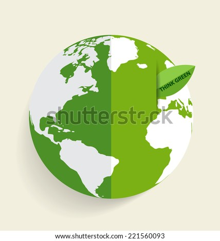 Green Eco Earth, Green earth with green leaf. Vector Illustration