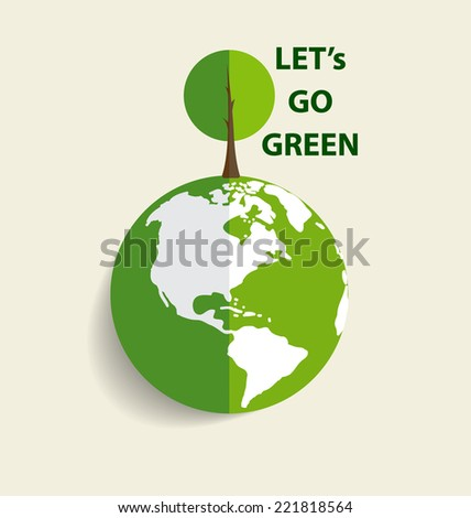 Green Eco Earth, Green earth with tree. Vector Illustration - stock vector
