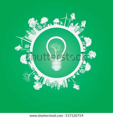 Green Eco Earth, On green Background, Vector Illustration - stock vector