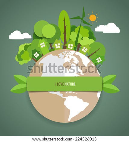 Green Eco Earth. Vector Illustration.