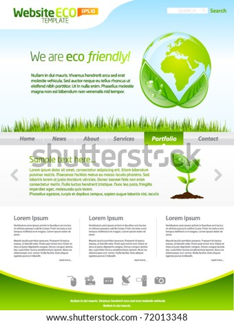 Green eco earth web template layout - stock vector