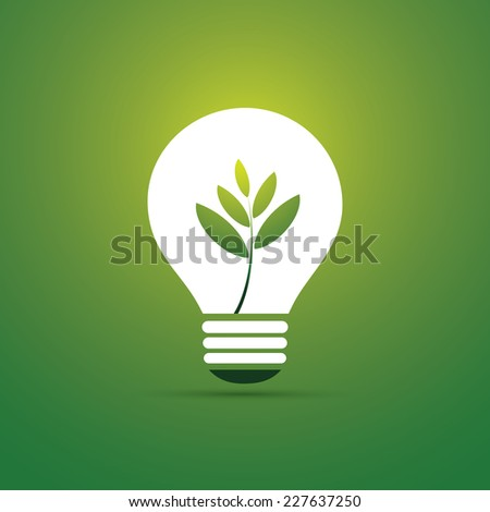 Green Eco Energy Concept Icon - Plant Inside the Light Bulb - stock vector