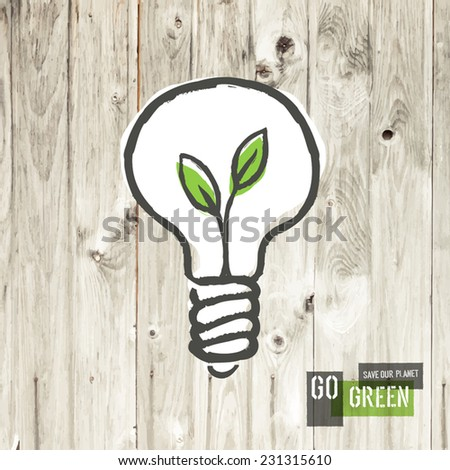 Green eco energy concept, plant growing inside the light bulb, on wooden texture. - stock vector