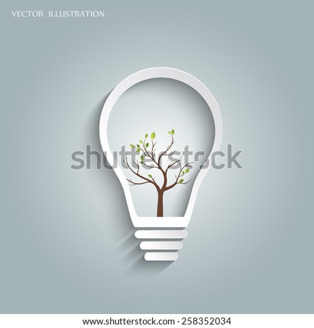 Green eco energy concept, plant growing inside the light bulb. Vector illustration modern template design. - stock vector