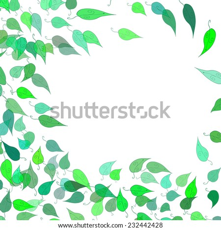 green eco frame with leaves - stock vector