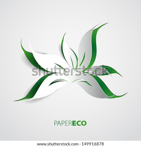 Green eco friendly background - abstract paper leaves - stock vector