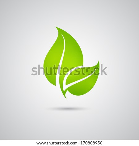 Green eco friendly background - abstract paper leaves. - stock vector