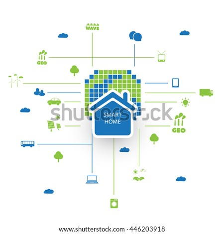 Green Eco Friendly Digital Smart Home, Cloud Computing, Internet of Things, Technology Design Concept with Icons - stock vector