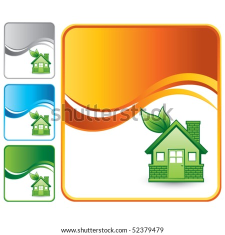 green eco-friendly home colored wave backgrounds - stock vector