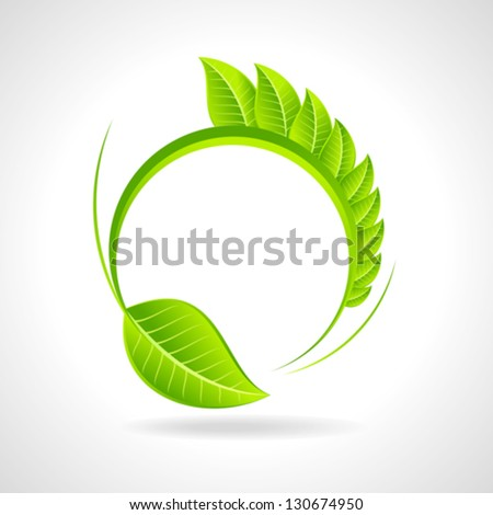 Green eco friendly icon with leaf - stock vector