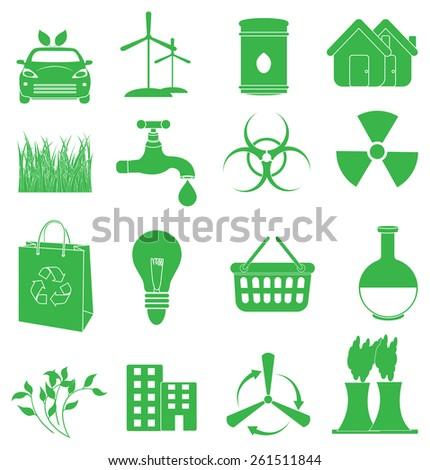 Green eco friendly icons set - stock vector