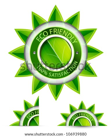 Green eco friendly labels - stock vector