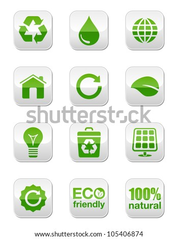 Green eco glossy buttons set - stock vector