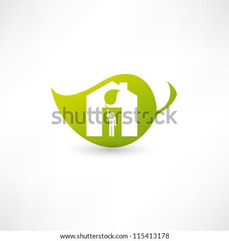 Green eco home - stock vector
