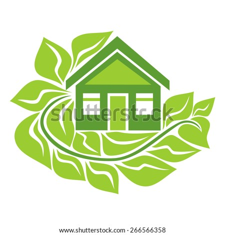Green eco house sign vector illustration - stock vector