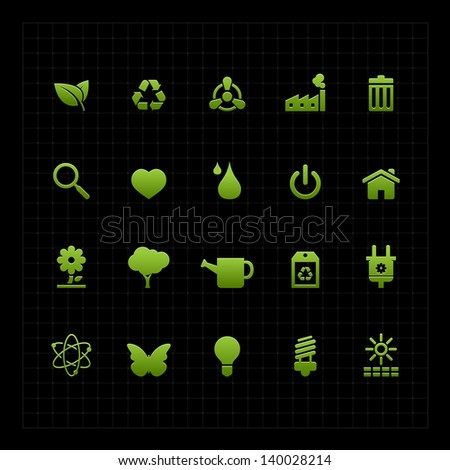 Green ECO icon set on dark background vector illustration - stock vector