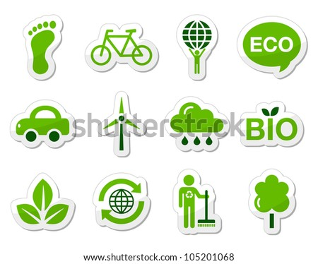 Green eco icons set - stock vector