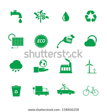 Green Eco icons set. - stock vector