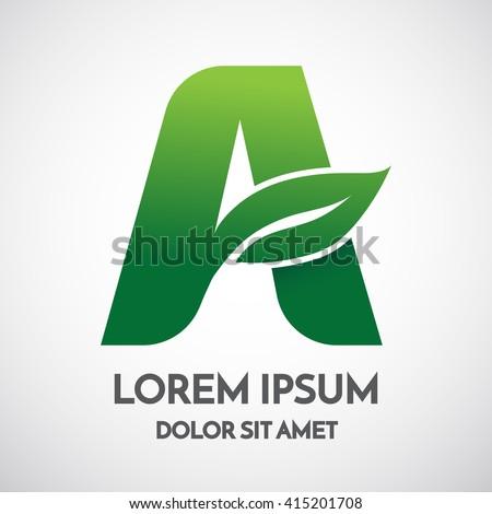Green eco Letter A Logo Template Design - stock vector