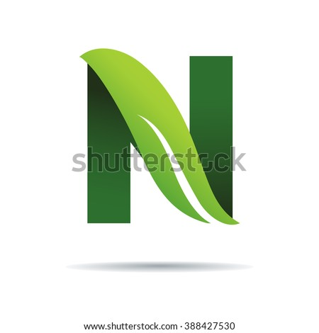 Green eco letters N logo with leaves. /symbol / alphabet / botanical / natural - stock vector