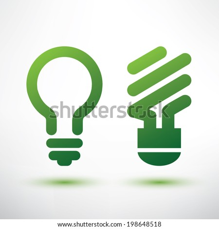 green eco light bulb icons set, low energy concept - stock vector