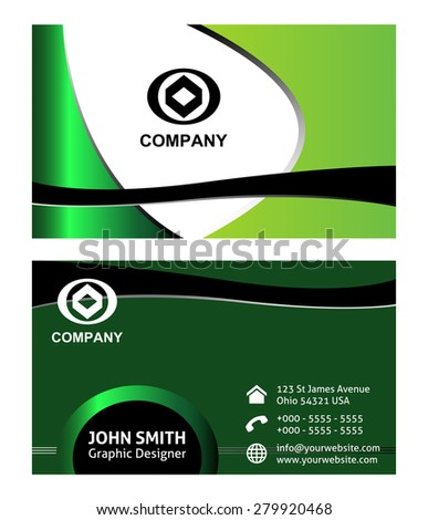 Green eco natural background business card  - stock vector