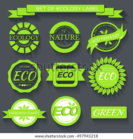 green eco nature label print set illustration design. Template for website and mobile appliance concept