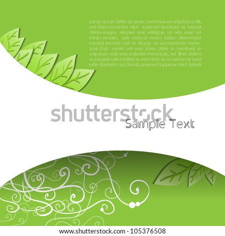 Green eco nature modern abstract creative vector business spring background with leaf - stock vector