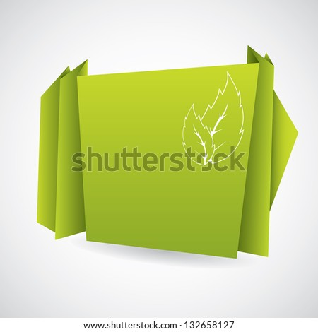Green eco origami paper design with leaf