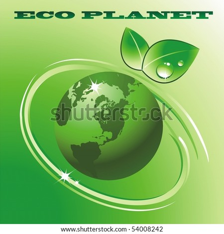 Green eco Planet. Vector illustration - stock vector