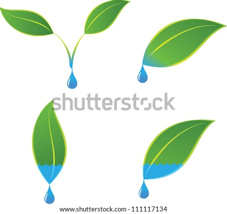 Green eco plant and water logo concepts - stock vector