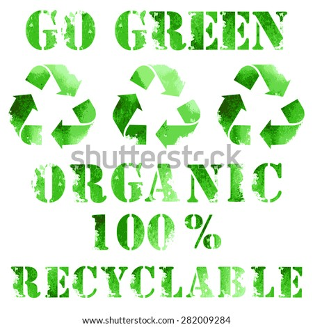 Green eco poster, recycle logo and text - stock vector