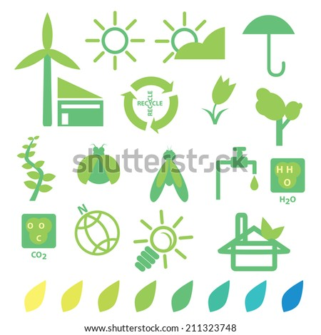 Green eco recycle and nature energy concept icon