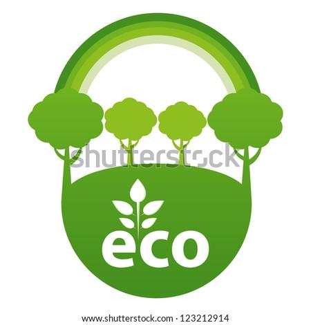 Green ECO reforestation concept. - stock vector