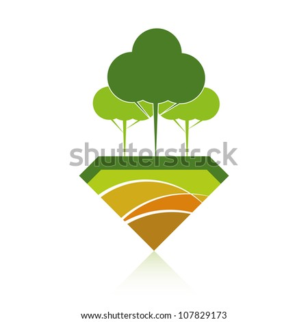 Green ECO reforestation concept. Green forest and earth.