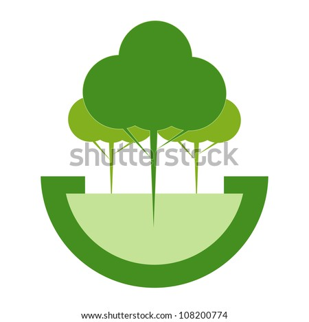 Green ECO reforestation concept. Green forest and earth. - stock vector