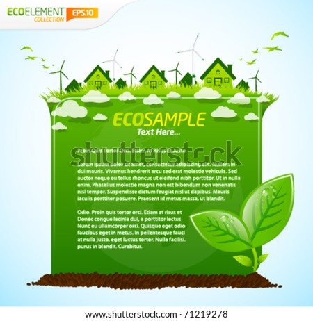 Green eco sample template with leafs, clouds and houses - stock vector