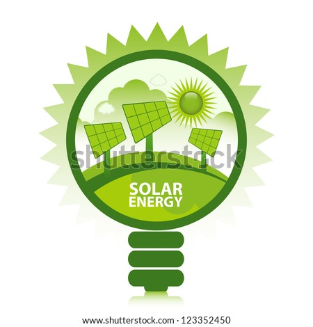 Green eco solar energy design concept. Clean energy generated by the sun. - stock vector