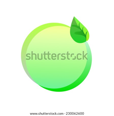 Green eco sticker, bio and organic label on white background
