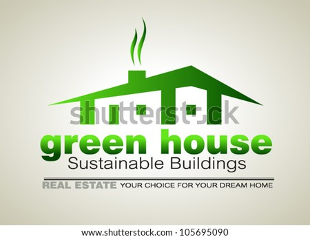 Green Eco sustainable  house icon to use for real estate flyers or posters. - stock vector