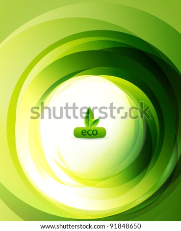 Green eco swirl abstract background - stock vector