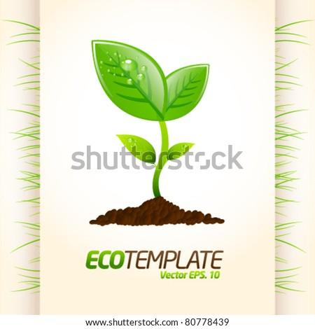 Green eco template 2 - stock vector