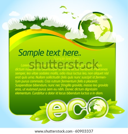 Green eco template with globe - stock vector