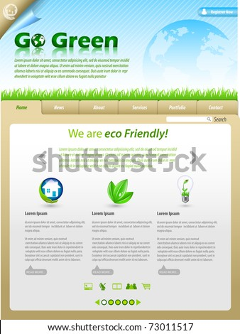 Green Eco Themed Website Template - stock vector