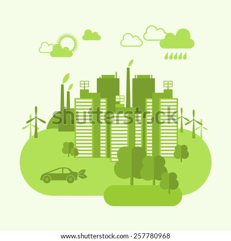 Green eco town concept with buildings and environment ecosystem vector illustration