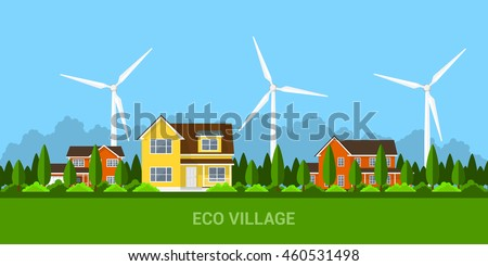 green eco village with private cottage houses and wind turbines, flat style concept for renewable energy and eco technologies
