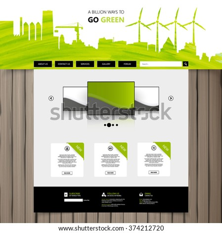 Green Eco Website Design Vector - stock vector